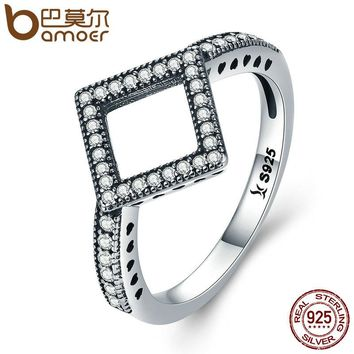 Genuine 925 Sterling Silver Geometric Dazzling CZ Square Finger Ring for Women Wedding Engagement Jewelry Gift SCR125
