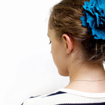 Peacock blue silk flower, wedding, hair barrette