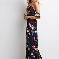 Mixed Floral Ruffle-Sleeve Maxi Dress