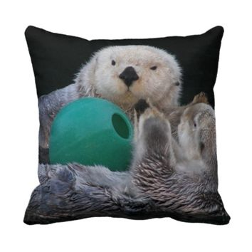 Playful Sea Otters Throw Pillow