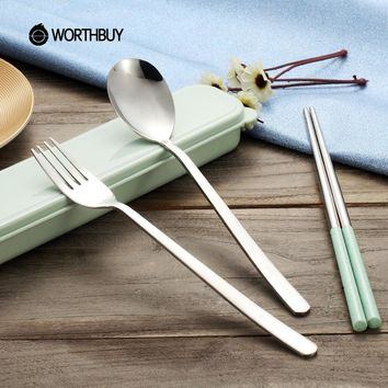 WORTHBUY Portable Stainless Steel Korean Dinnerware Sets Nordic Colors Wheat Straw Kids Tableware Sets Travel Picnic Cutlery Set