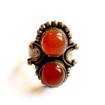 Vintage Faux Carnelian Statement Ring - Boho Brass Ring - Orange Glass Cabochon - Adjustable Band - Festival Fashion - Free Spirit Gypsy