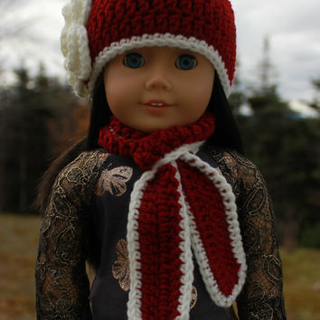 18 inch doll clothes, crochet beanie hat with flower and scarf, Upbeat Petites