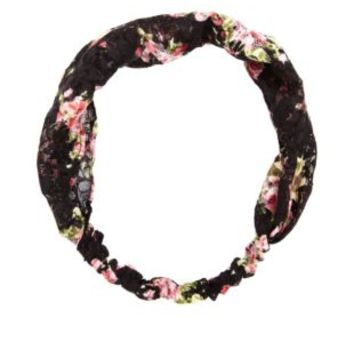 Floral Print Lace Head Wrap by Charlotte Russe - Black Combo