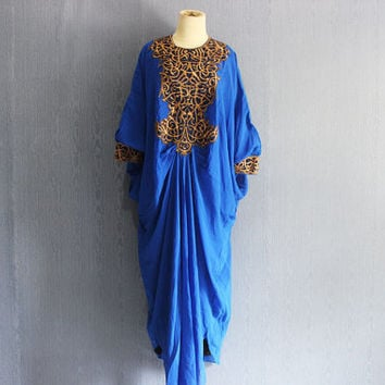 Fancy Blue Kaftan Embroidery Dress Caftan, Dubai Abaya Maxi Dress with lining, Plus Size Kaftan Maternity Oversized Dress