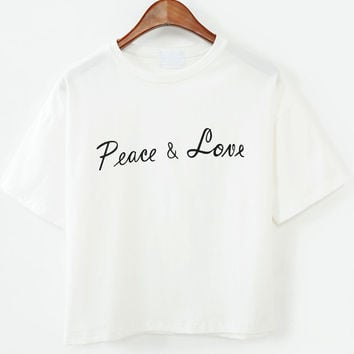 White Short Sleeve Peace&Love Print Graphic T-Shirt