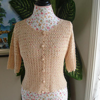 Ready to ship - HANDMADE Crochet Lace Peach top, crochet blouse will fit Small size/Will fit Size Small to Medium