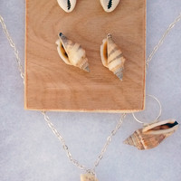 Jewelry Set Mermaid Seashell  Earrings Necklace Ring Ocean Beach 4 Piece Gift Set