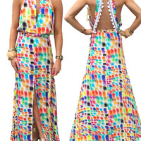 Alexis Wyatt Long Dress with Open Back in Brushstroke of Color *EXCLUSIVE*
