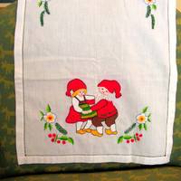 Hand Embroidered Gnome Linen Dish Cloth Towel German Couple Kitchen Embroidery Decor
