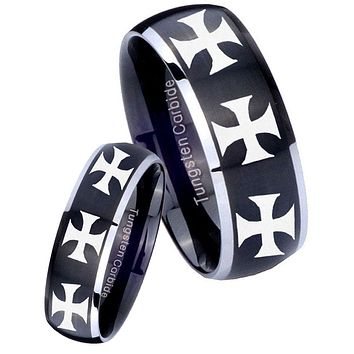 His Her Matte Dome Multiple Maltese Cross Two Tone Tungsten Carbide Wedding Rings Set