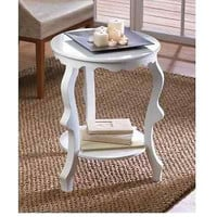 Round Accent End Table White Finish Contemporary Living Room Decor