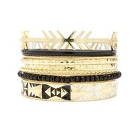 GOLDEN AZTEC BANGLES - 9 PACK
