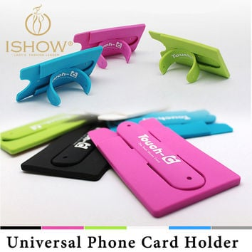 Silicone Pure Color Phone Card Holder Support Cellphone Back Sticker Universal Card Storage Soport