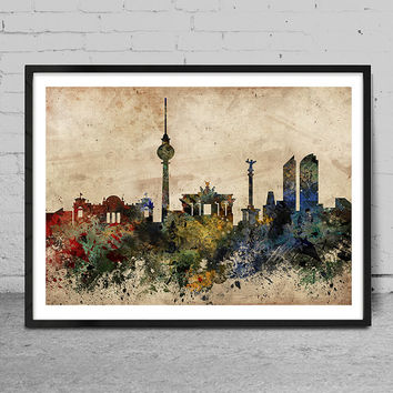 Berlin skyline, Berlin Germany print, Berlin abstract, Berlin Art Poster, Wall Art, Berlin Decor, Cityspace Poster Print -x63