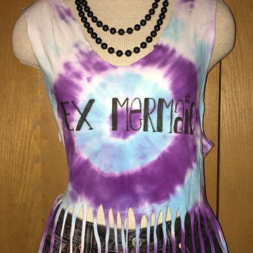 Ex Mermaid Tie Dyed Fringe Tank Top size Medium/Large