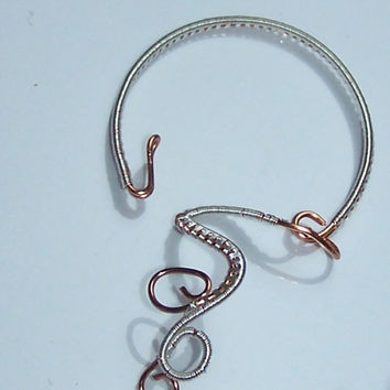 Wire Wrapped  Bangle Bracelet, Cuff Bracelet, OOAK, Bracelet From Copper and Silver Plated Copper Wire