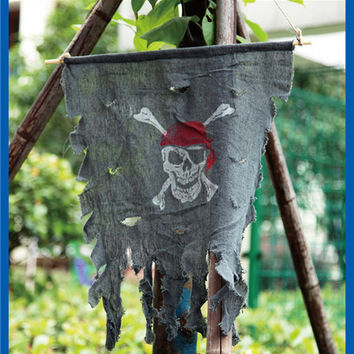 Hanging Halloween paraphernalia trick toys pirate flag Skull crossbones Door curtain ghost flag decorated Halloween props FE77