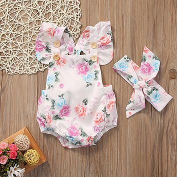 Cute Infant Baby Girls Ruffle Retro Print Romper Summer baby Braces Sunsuit Toddler Baby Clothes