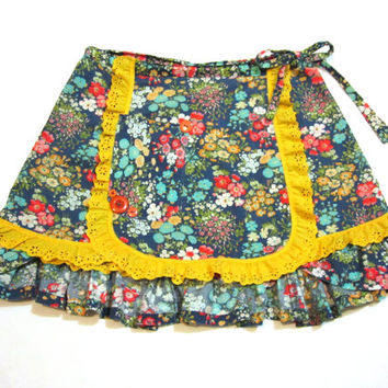 Prairie Chic Wrap Skirt - Blue Flowers with Yellow Lace, Ruffles & Pocket - Women's Small XS