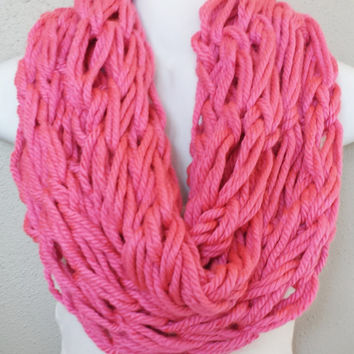 Bubble Gum Pink Arm Knitted Infinity Scarf Womens Fall Knitted Scarves Chunky Pink Arm knit Infinity Scarf
