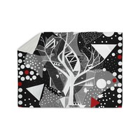 "Marianna Tankelevich ""Geometric Play"" Black Red Sherpa Blanket"