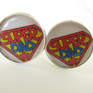 Super DAD cufflinks ---superman-father,daddy,love,fathers day