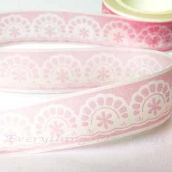 Washi Tape / Japan Sticky Adhesive Tape / Decorative Masking Tape Scrapbooking Tools Favor Stationery Doilies Pink 10m h18