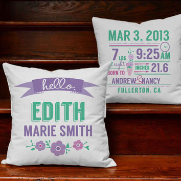 Custom Baby Girl Announcement Pillow Covers with or without Cushion Inserts - Customizeable Print Baby Announcement, Personalized Baby Decor