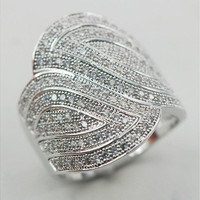 White Sapphire 925 Sterling Silver Micropave Ring Size 6 7 8 9 10 11 A07