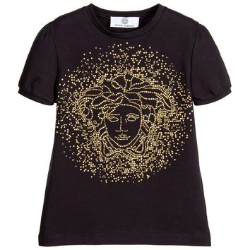 Versace Girls Black Studded Medusa T-shirt