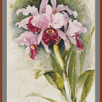 Orchids - Counted cross stitch pattern in PDF format