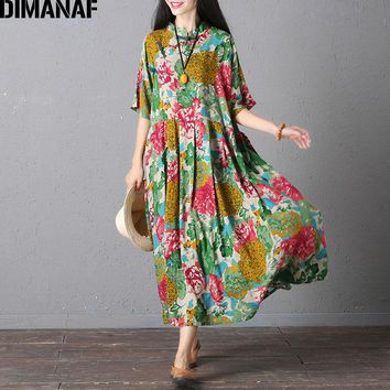 DIMANAF Women Dress Plus Size Summer Floral Print Linen Colorful Female Loose Casual Vintage Chinese Style Large Size Dresses