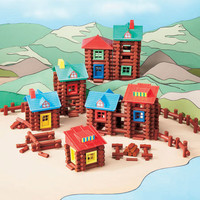 Wood Log Building Set Lincoln Build Construct Kids Toy Gift Create Frontier Town