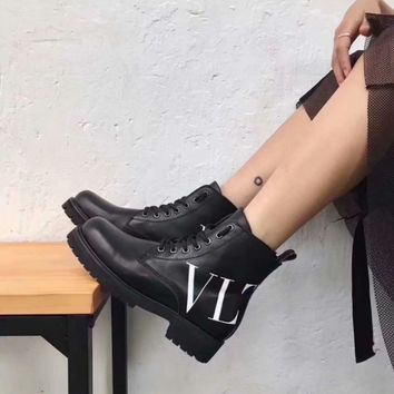 VALENTINO Trending Women Black Leather Lace-up Ankle Boots Shoes Best Quality