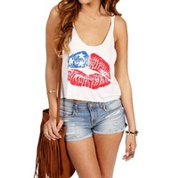 White American Kiss Tank top