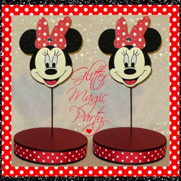 Minnie Mouse - Lollipops or Cakepops Stands - Minnie Mouse Party Decoration - Red Minnie Mouse - SET OF 2 STANDS