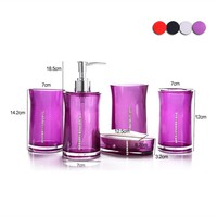 5Pcs/Set Acrylic Bathroom Accessory Set Soap Dispenser Bottle Soap Dish Cup Toothbrush Holder Case Caddy 2017ing