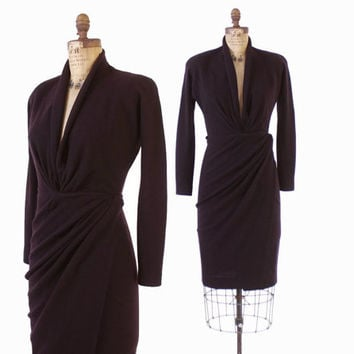 Vintage 80s Wrap DRESS / 1980s Donna Karan Eggplant Purple Wool Jersey Black Label XS