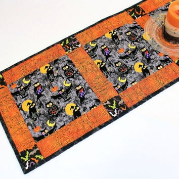 Halloween Quilted Table Runner, Owls and Bats Quilt in Orange and Black, Quiltsy Handmade