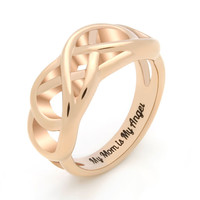 """Mother Gift - Double Infinity Promise Mother Ring Engraved on Inside with """"My Mom Is My Angel"""", Sizes 6 to 9"""