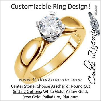 Cubic Zirconia Engagement Ring- The Belinda (Round or Asscher Solitaire with Wide Bowed Band)
