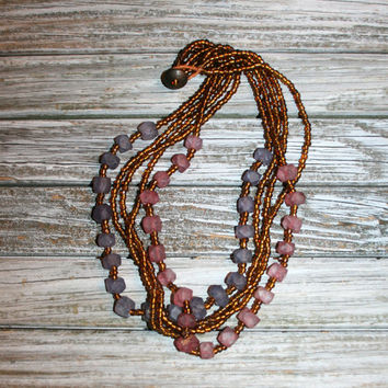 Multi Strand Beaded Necklace Handmade Dusty Purple Pink Amber Chunky Bead Necklace Beaded Jewelry