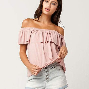 IVY & MAIN Flounce Womens Off The Shoulder Top | Knit Tops + Tees