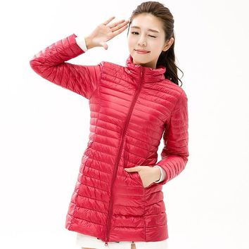 Solid Color Winter Women Long Down Jacket Autumn Pocketable Fashion Duck Feather Ultra Lightweight Long Coat sha034