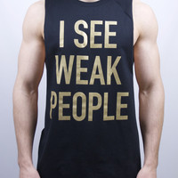 Weak People Cut Off T Shirt - Black