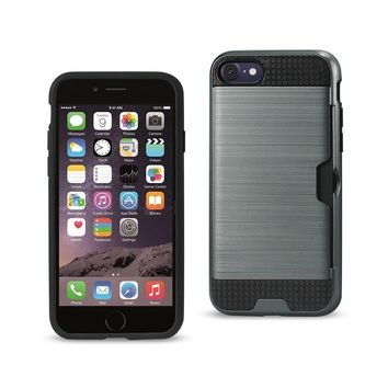 New Slim Armor Hybrid Case With Card Holder In Gray For iPhone 7/ 6/ 6S