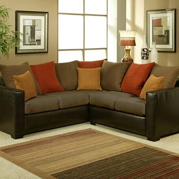 A.M.B. Furniture & Design :: Living room furniture :: Sofas and Sets :: Sectional Sofas :: 2 pc Allure two tone chocolate padded microfiber suede and leather like vinyl upholstery sectional sofa set