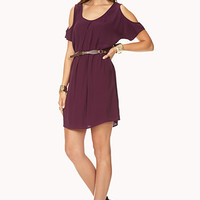 Cold Shoulder Shift Dress w/ Belt