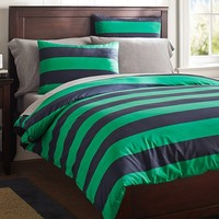 Rugby Stripe Duvet Cover + Sham, Navy/Bright Green